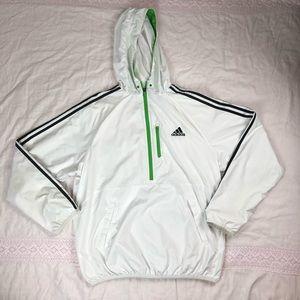 Adidas white, black, and green windbreaker jacket